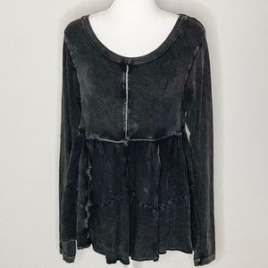 Altar'd State Distressed Dark Grey Baby Doll Top